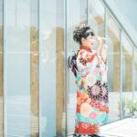 さあやちゃん7歳、七五三、2Fテラス、シャボン玉で遊ぶ、JAPAN STYLEの着物で - 宇都宮のフォトスタジオ イマピクトで