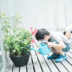 キッズカジュアル撮影、お花にお水やり中、ありがとね! - 宇都宮のフォトスタジオ イマピクトで
