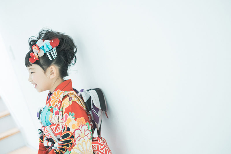 さあやちゃん7歳、七五三、JAPAN STYLEの着物で