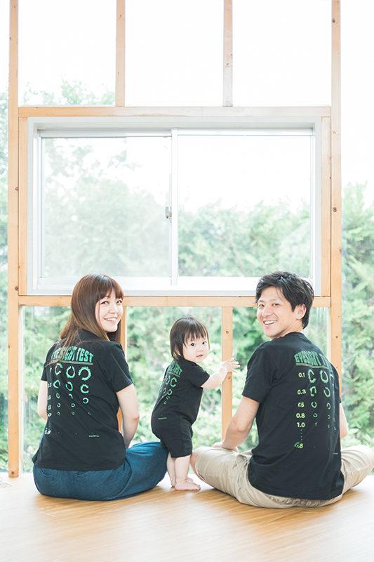 あんちゃん、1歳バースデー!家族写真。みんなおそろいのゴーヤTシャツで!