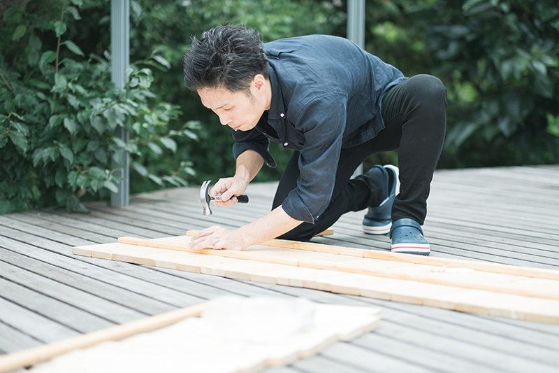 庭先DIY、木材を連結します