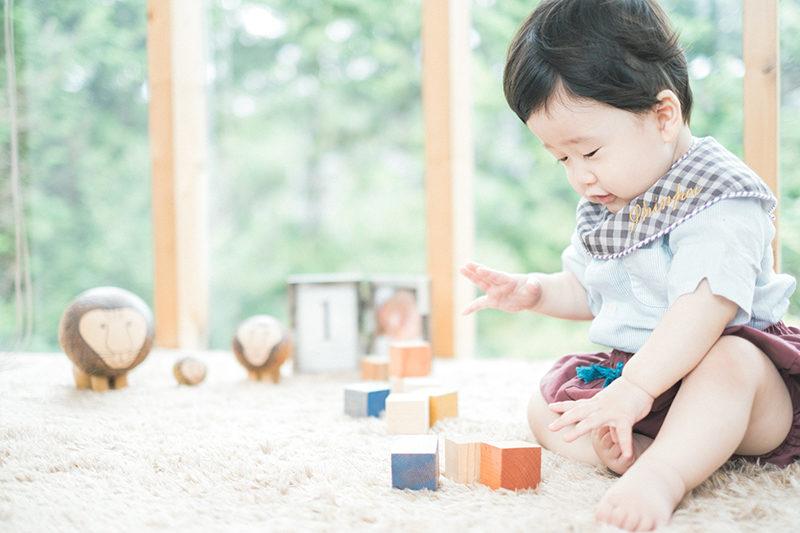 しんぺいくん、1歳バースデー!積み木ぽいぽい
