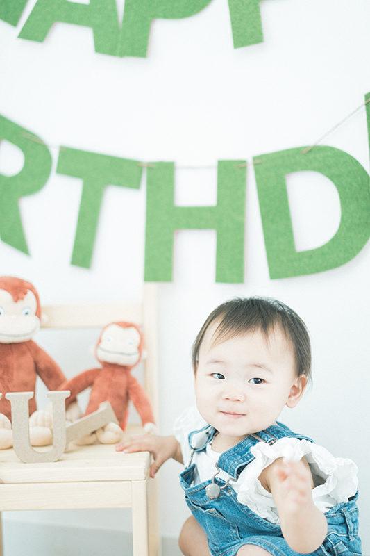 ゆいちゃん、1歳バースデー!オシャレなDIYガーランドとお猿のジョージと。