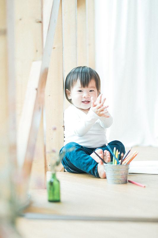 えみちゃん、キッズ、1歳バースデーフォト!てばたき