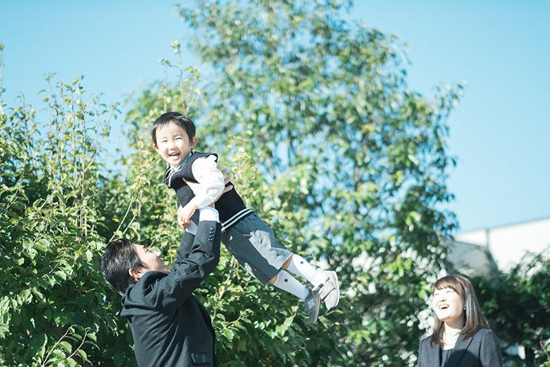 3歳バースデー!しょうくん!秋晴れの家族写真