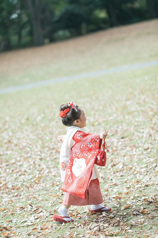 栃木県中央公園、3歳七五三ロケーション撮影!ちはなちゃん!元気いっぱい