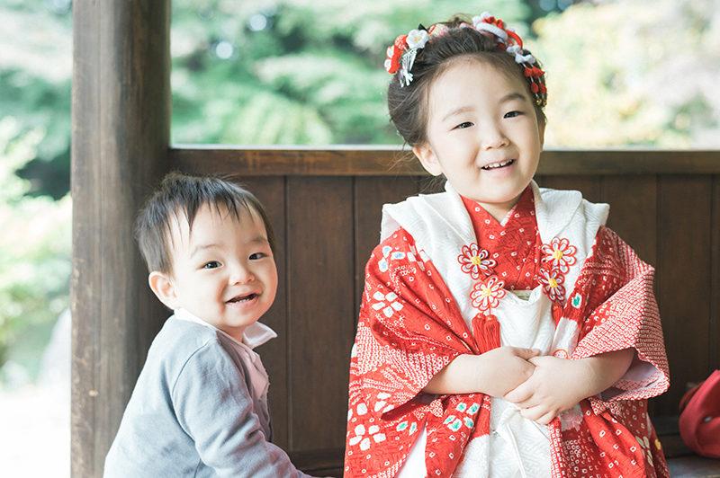 栃木県中央公園、3歳七五三ロケーション撮影!ちはなちゃん!兄弟で