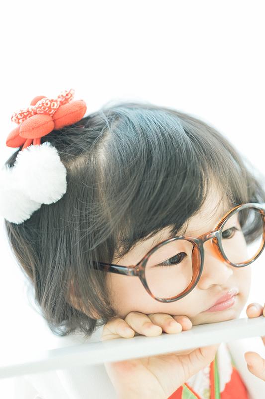 3歳七五三、ゆきちゃん。おしゃれ眼鏡