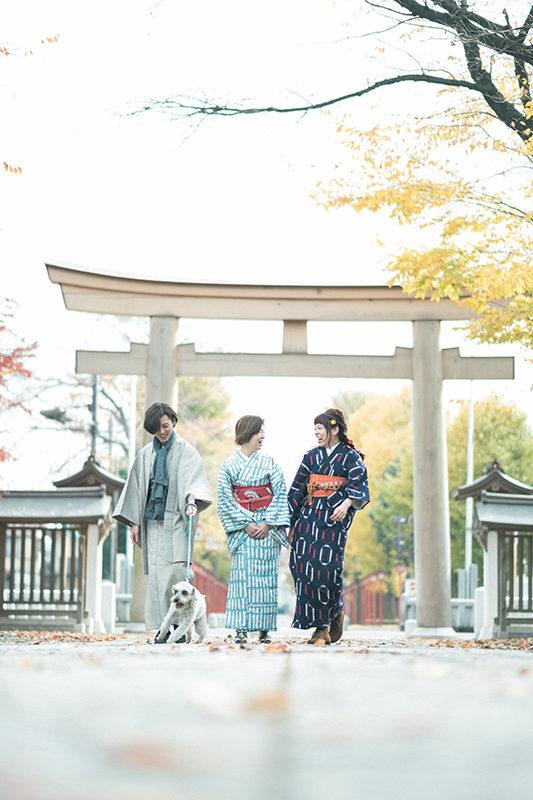 栃木県小山市、美容室Lab様プロモーション用モデル撮影、法人向け撮影イメージカット着物。ロケーションは小山市須賀神社。