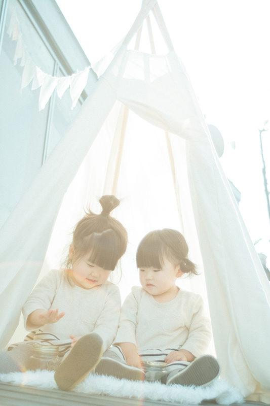 ファミリーフォト、さなちゃん、ことはちゃん!in ティピーテント