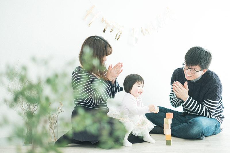 バースデーフォト、1歳、あずさちゃん!家族写真