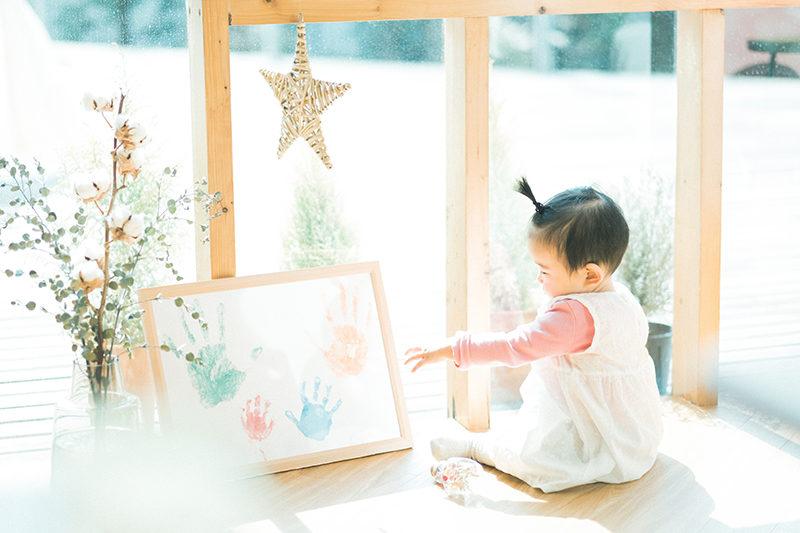 1歳バースデー、初節句、すいちゃん!おしゃれ手形アート