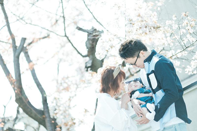 お宮参り、100日祝い、あかりちゃん!桜と