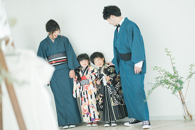 5歳七五三、あおいくん!家族写真