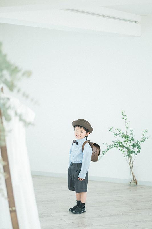入園フォト、しょうごくん!園児服と通園バッグ