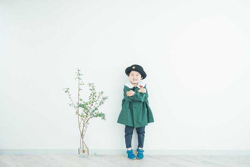 入園記念、けいくん!園児服と帽子で