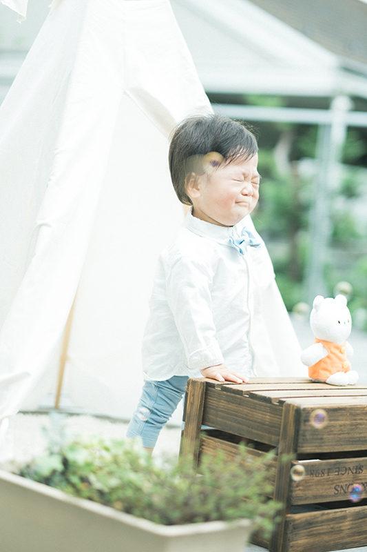 1歳バースデーフォト、ふみやくん!可愛い泣き顔