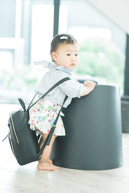 バースデーフォト、えみちゃん!ママのバッグ