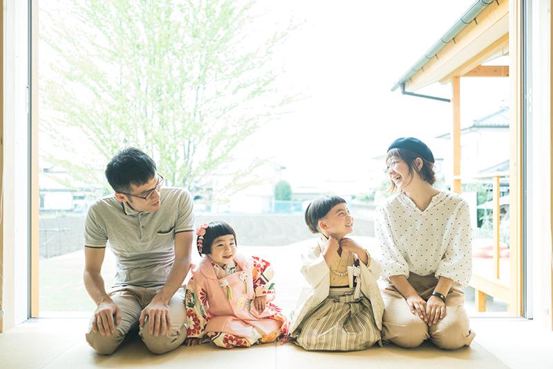 自宅出張撮影、七五三!さくくん、りほちゃん!家族写真
