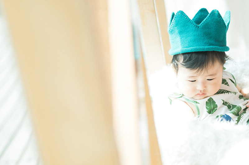 ハーフバースデー、6ヶ月、れんとくん!お洒落な帽子