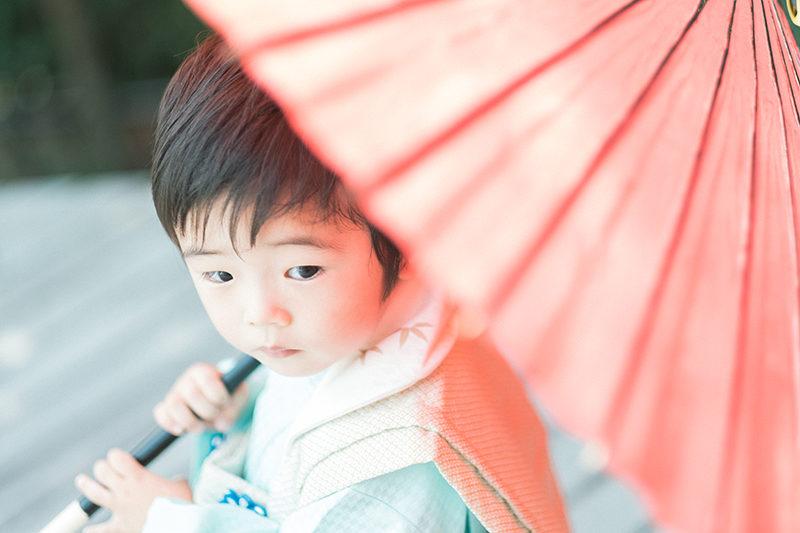 3歳男の子七五三、あらたくん!番傘