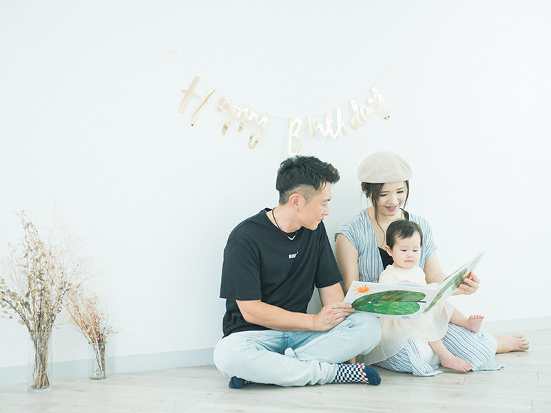 1歳バースデーフォト、まおちゃん!家族写真