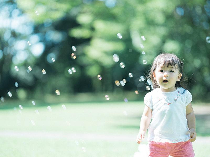 1歳バースデーフォト、はるちゃん!栃木県中央公園ロケ撮影。しゃぼんだま