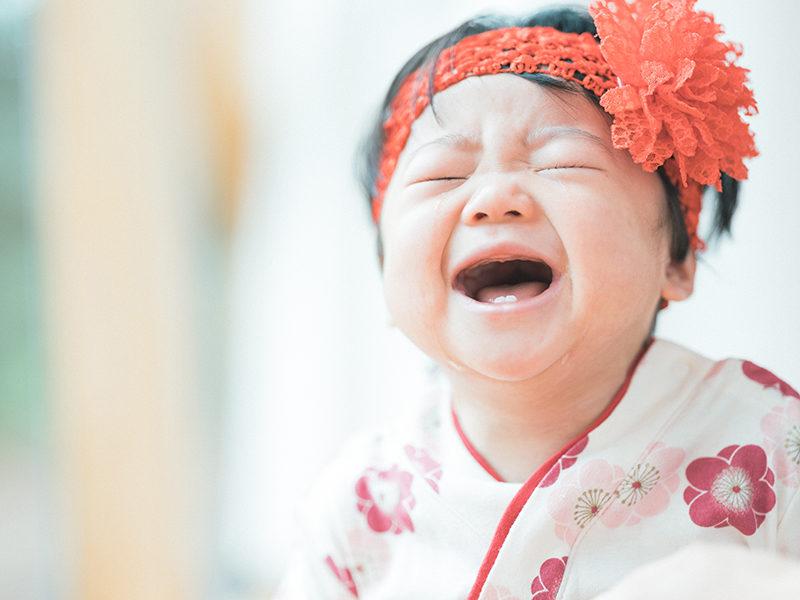 1歳バースデーフォト、しおりちゃん!泣き顔