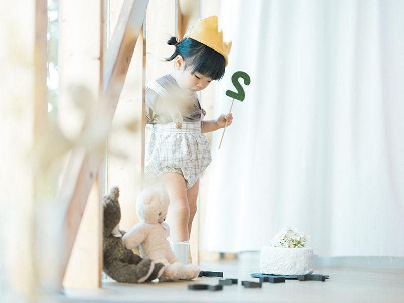 2歳、バースデーフォト、つむぎちゃん!お洒落な手作り王冠