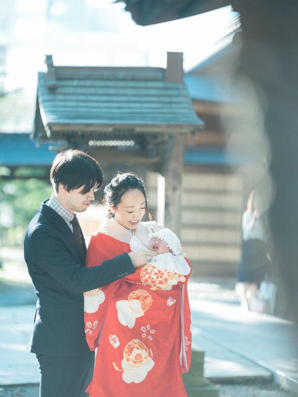 宇都宮二荒山神社、お宮参り出張ロケーション撮影、さらちゃん!家族写真、産着