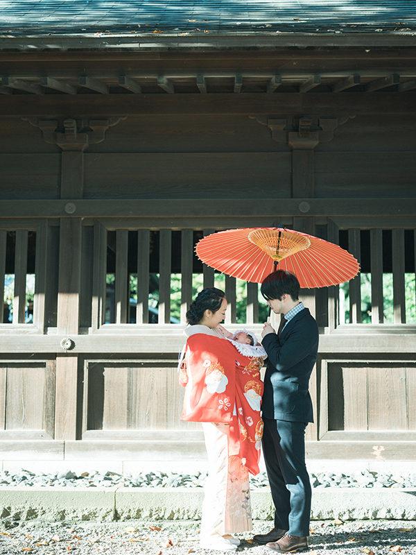 宇都宮二荒山神社、お宮参り出張ロケーション撮影、さらちゃん!番傘