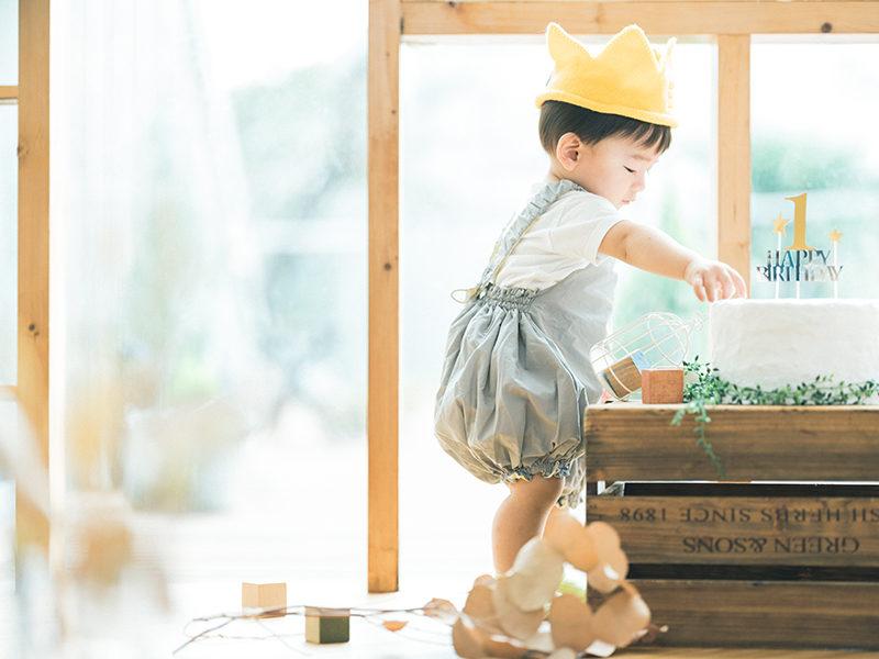 1歳バースデーフォト、こうちゃん!バースデーケーキ