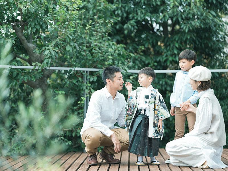 5歳七五三、とうまくん!家族写真、ナチュラル