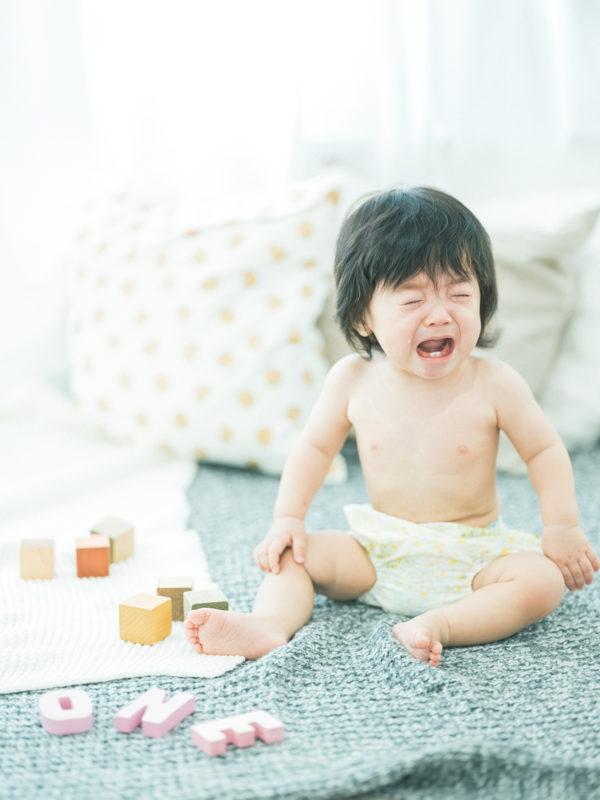 1歳バースデーフォト、しゅんぺいくん!泣き顔