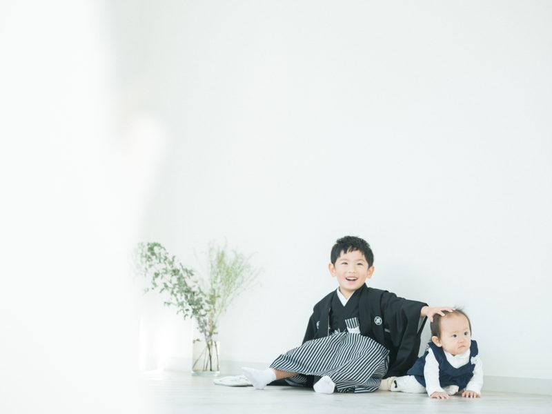 5歳七五三、きょうちゃん!兄弟写真