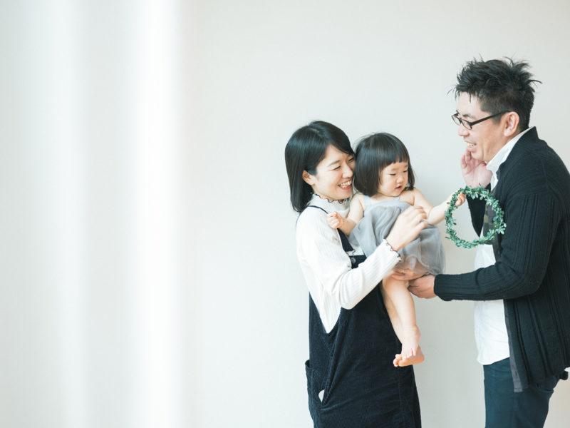 1歳バースデーフォト、かほちゃん!家族写真