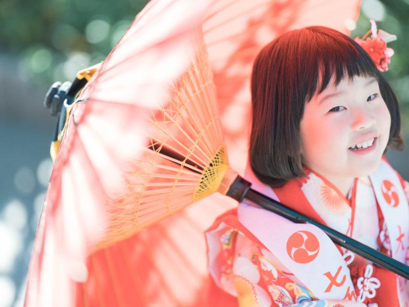 真岡市大前神社、3歳七五三、まいこちゃん!番傘