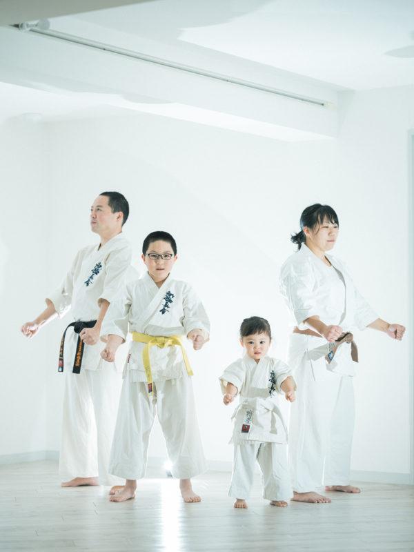 3歳七五三、たまちゃん!空手道気、家族写真