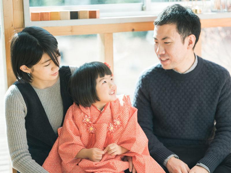 3歳七五三、つむぎちゃん!家族写真