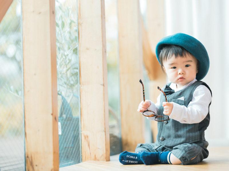 1歳バースデーフォト、そらくん!お洒落帽子