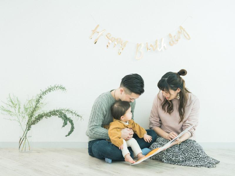1歳バースデーフォト、りくくん!家族写真
