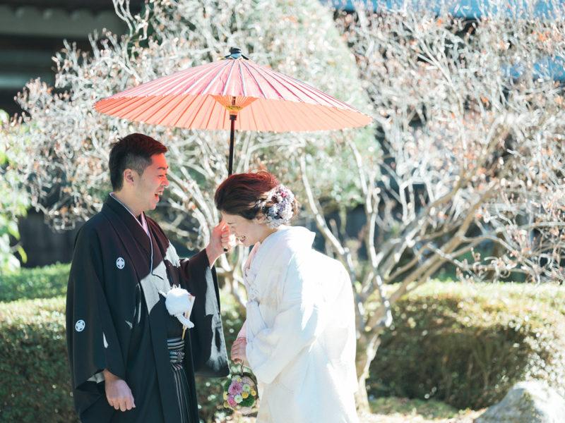 日光二荒山神社、和装、結婚式!番傘