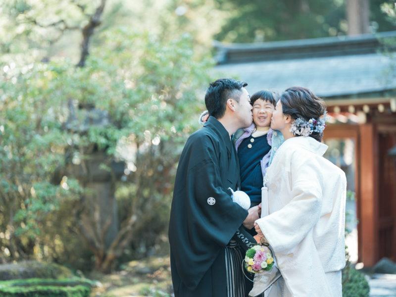 日光二荒山神社、和装、結婚式!家族写真
