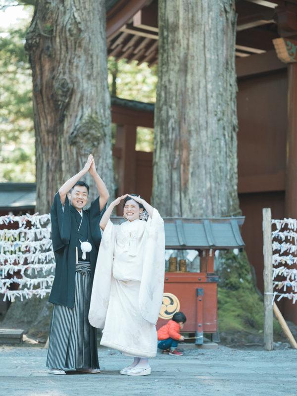 日光二荒山神社、和装、結婚式!夫婦杉