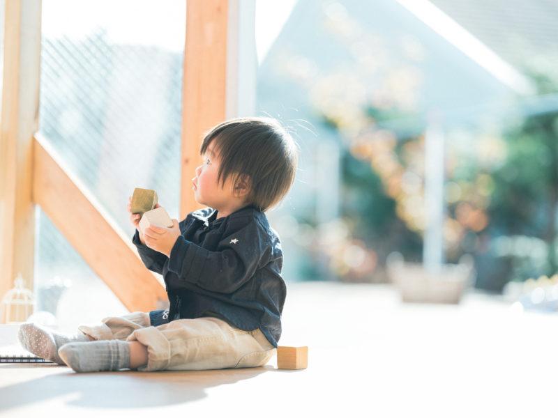 1歳バースデーフォト、そうすけくん!積み木