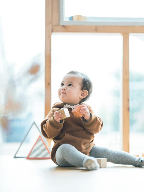 1歳バースデーフォト、こっちゃん!積み木