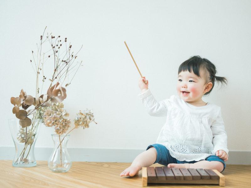 1歳バースデーフォト、さやちゃん!ナチュラル、自然光