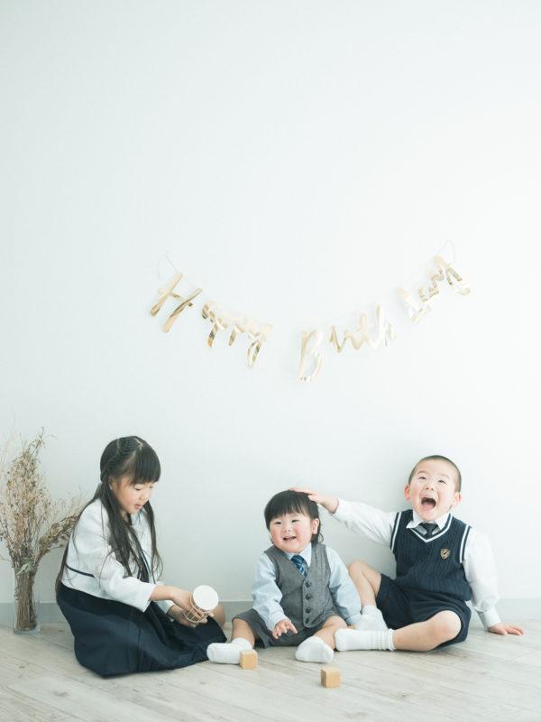1歳バースデーフォト、じゅんくん!兄弟写真