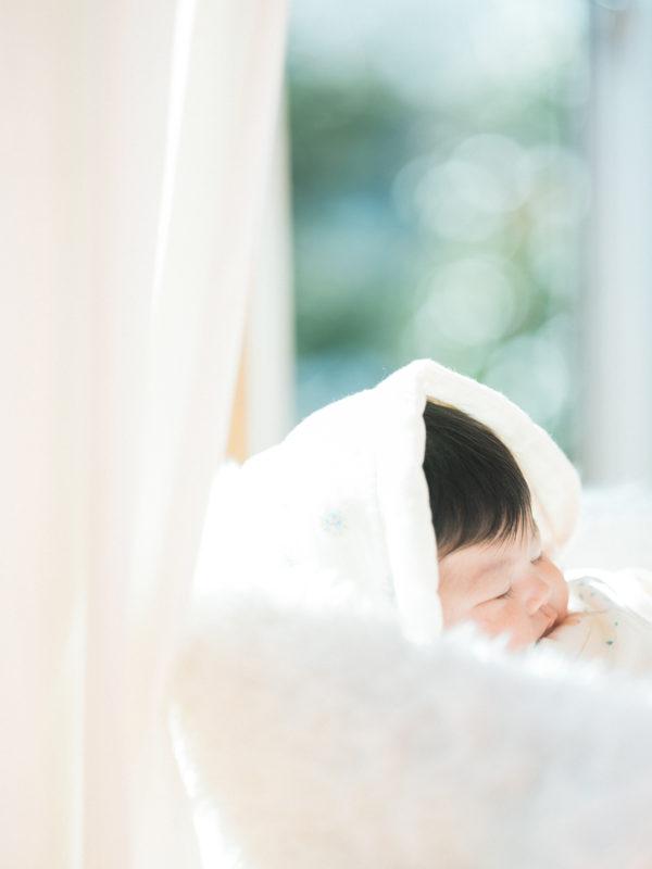 お宮参り、ちーちゃん!寝顔、お洒落なベビードレス