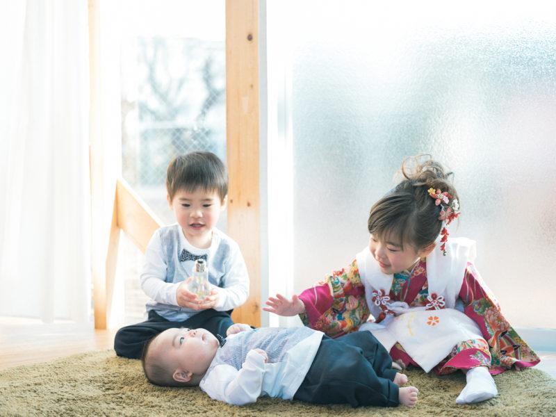 3歳七五三、りおちゃん!100日祝い、れいくん!兄弟写真